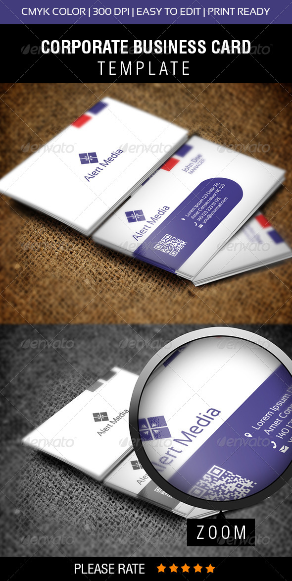 Alert Media Business Card - Corporate Business Cards
