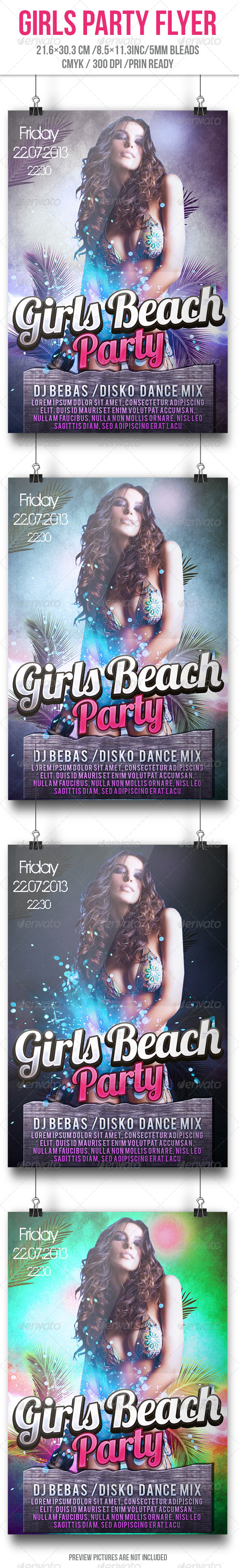 Girls Beach Party Flyer - Flyers Print Templates