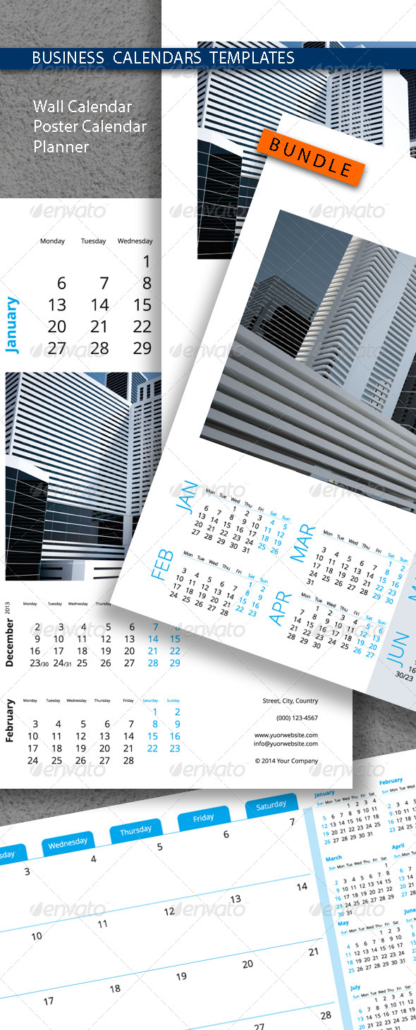 Business Calendars Templates Bundle 2015 (2014) - Calendars Stationery