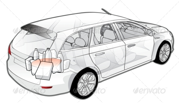Car Infographics Cutaway - Man-made Objects Objects