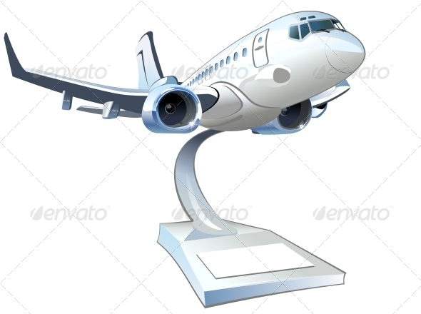 Vector Cartoon Airliner - Man-made Objects Objects