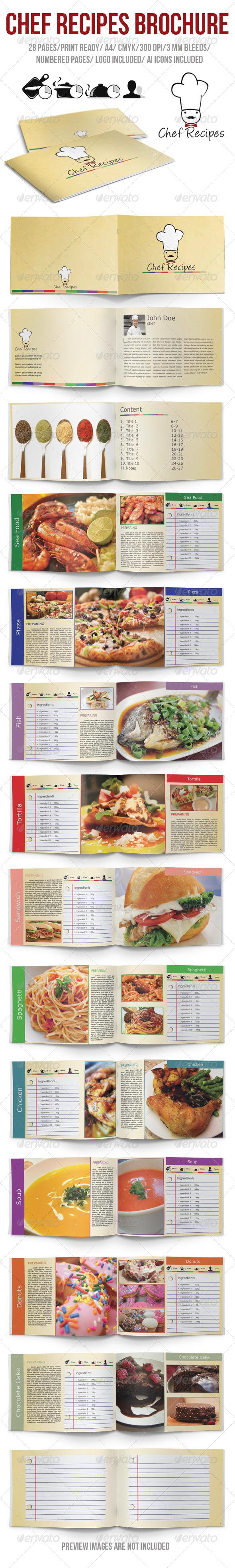 Chef Recipes Brochure - Brochures Print Templates
