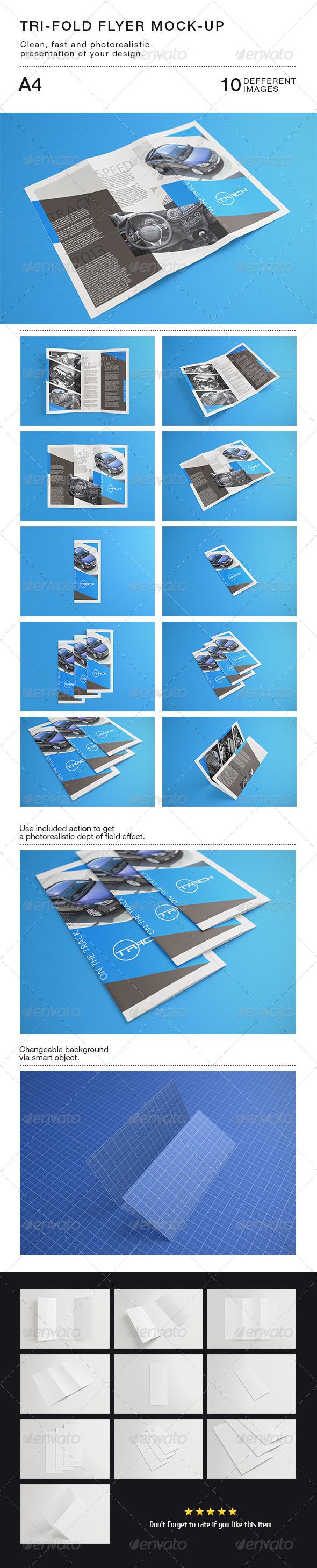 Tri-fold Flyer A4 Mock-Up - Brochures Print