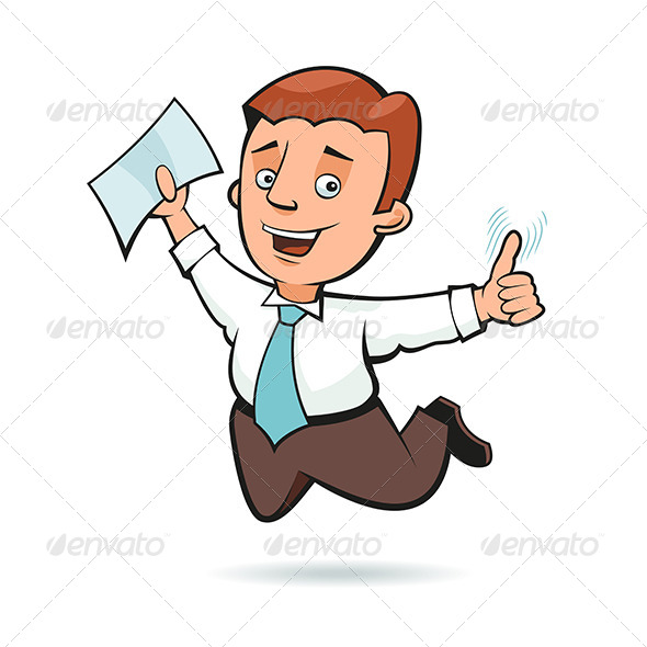 Businessman Holding a Sheet of Paper and Jumping - People Characters
