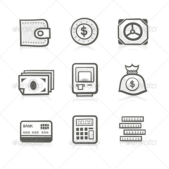 Money Related Icon Set - Business Conceptual