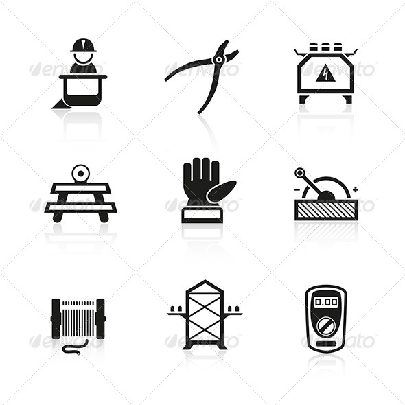 Electrician Equipment Icons - Industries Business