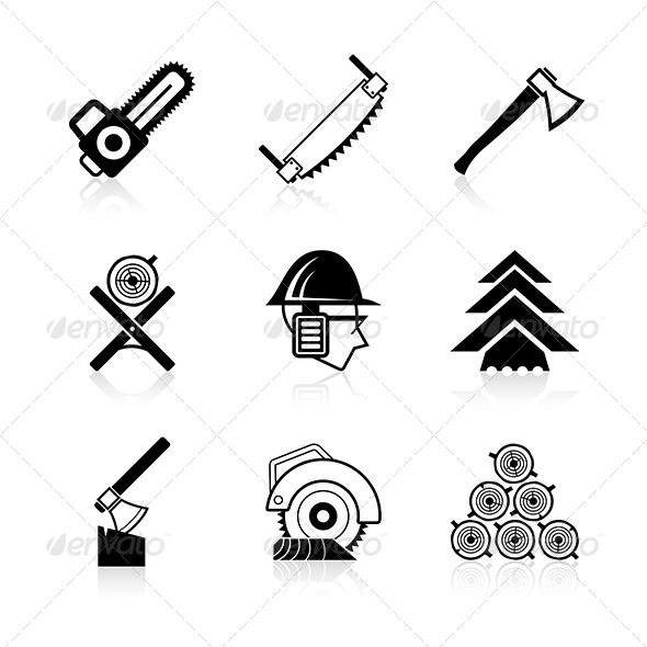 Woodworking Icon Set - Industries Business
