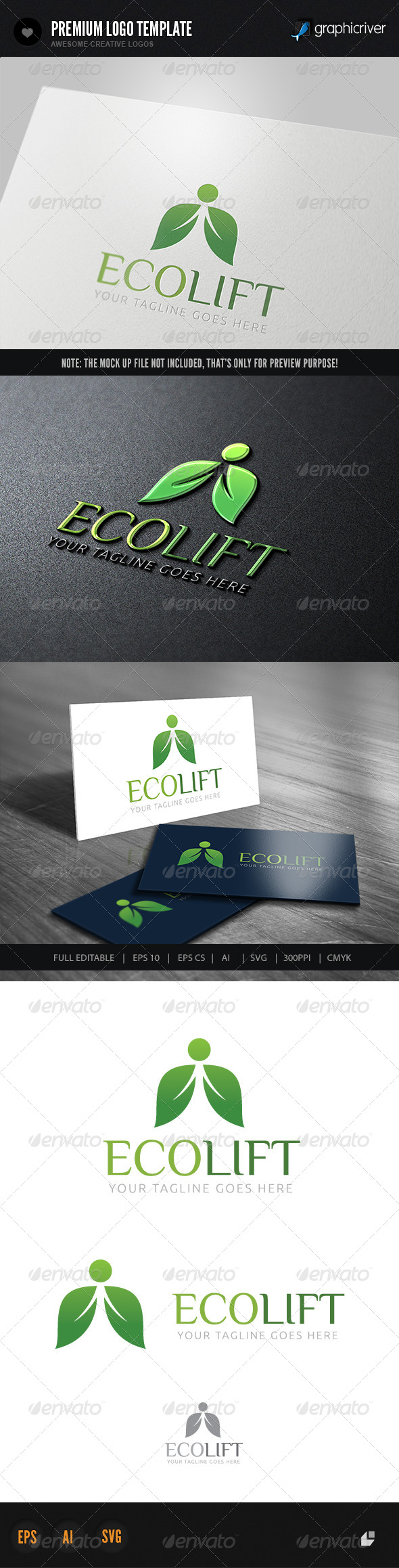 Eco Lift Logo - Nature Logo Templates