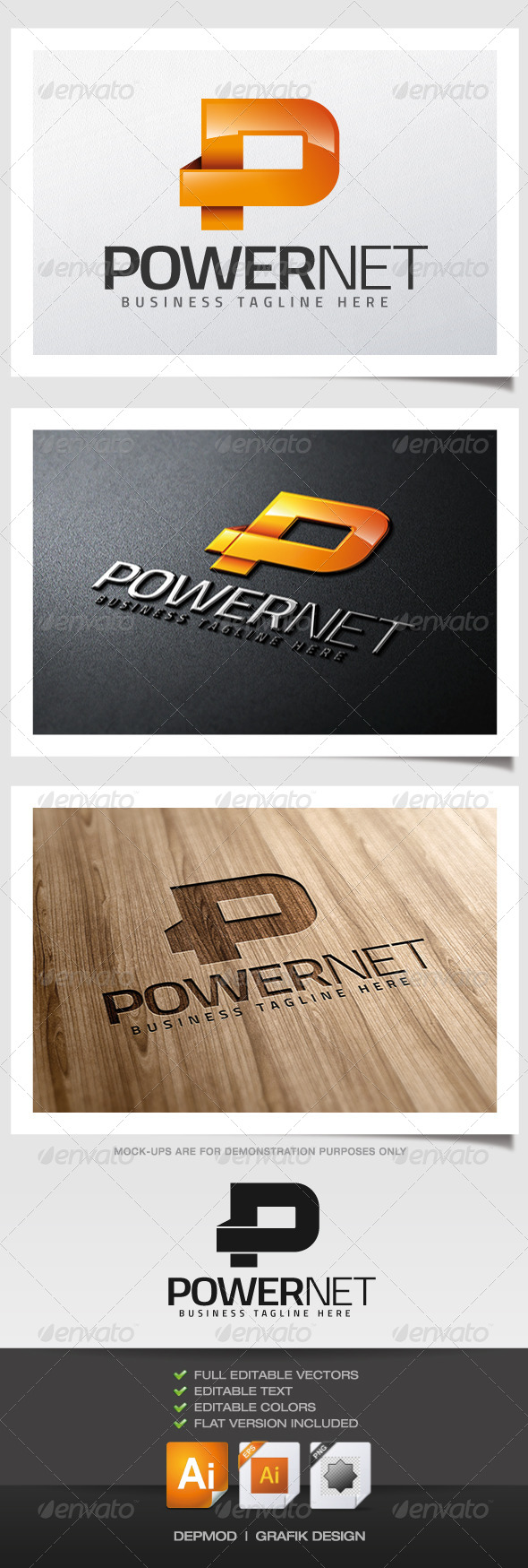 Power Net Logo - Letters Logo Templates