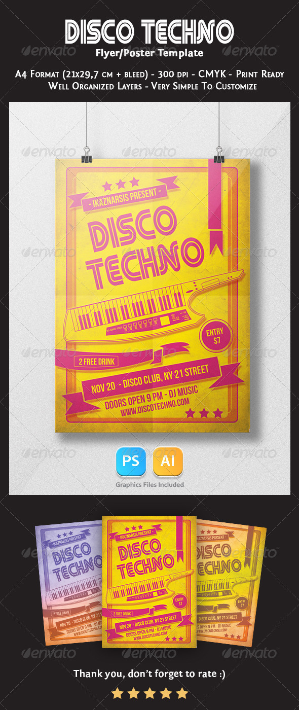 Disco Techno Flyer Template - Clubs & Parties Events