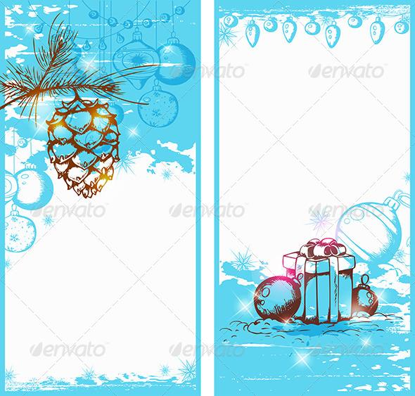 Blue Christmas Vertical Banners - Christmas Seasons/Holidays