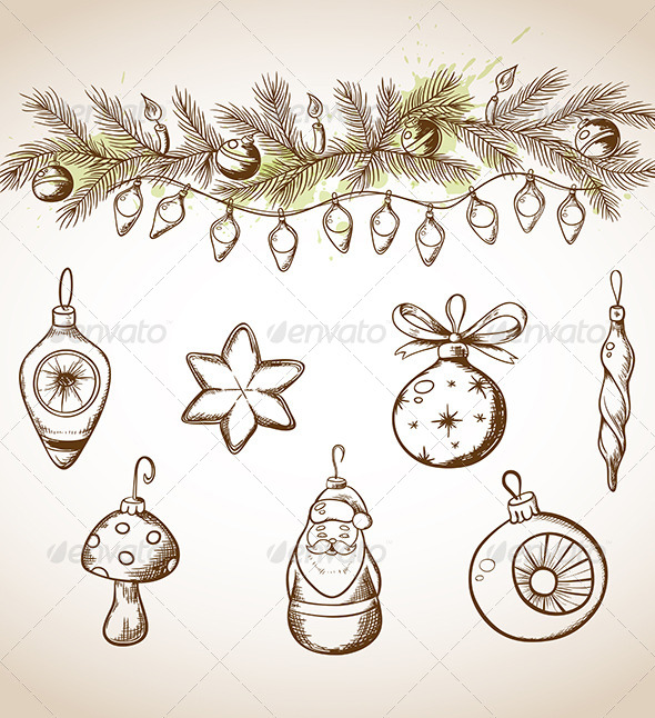 Hand Drawn Christmas Decorations - Christmas Seasons/Holidays