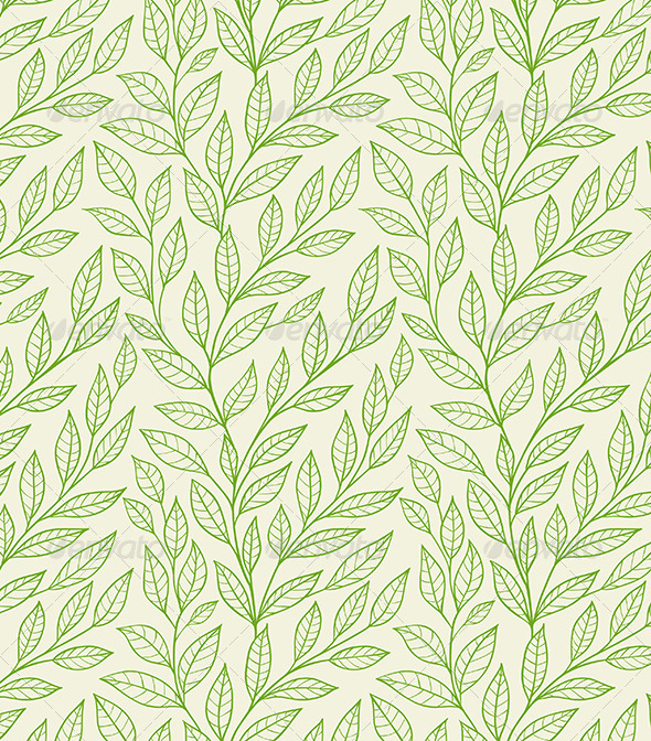 Seamless Pattern with Green Leaves - Patterns Decorative