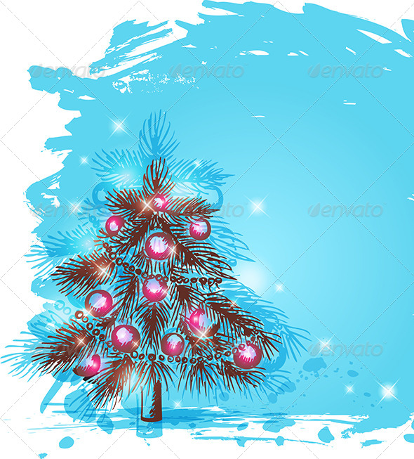 Background with Christmas Tree - Christmas Seasons/Holidays