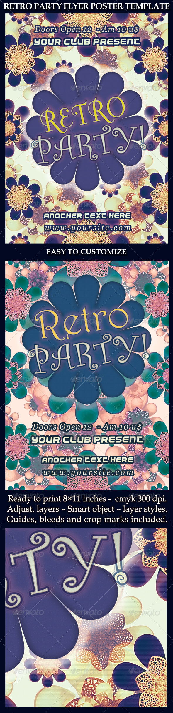 Retro Party Flyer Poster Template - Events Flyers