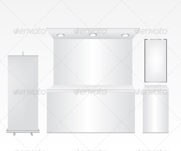 Trade Stand and Roll Up Illustration - Objects Vectors