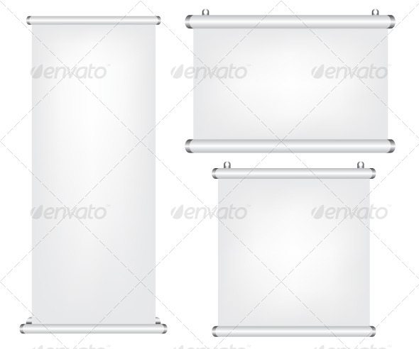 Roll Up and Projector Screen Illustration - Objects Vectors