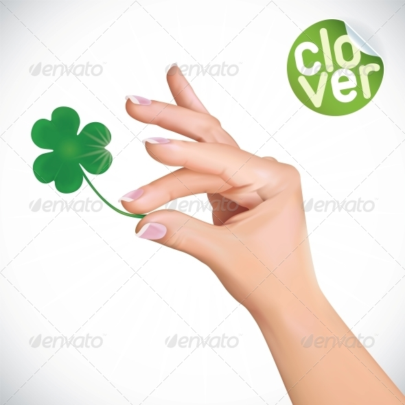 Hand Holding Clover Illustration - Miscellaneous Conceptual