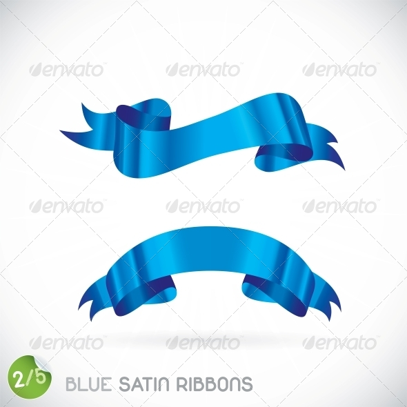 Blue Satin Ribbons Illustration - Miscellaneous Conceptual