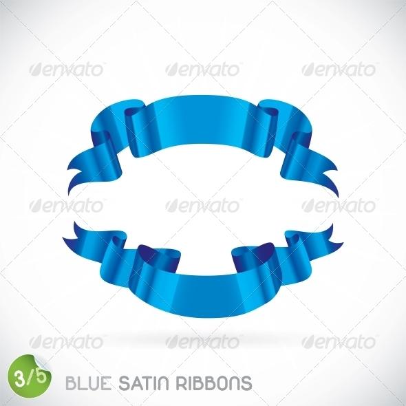 Blue Satin Ribbons Illustration - Miscellaneous Conceptual