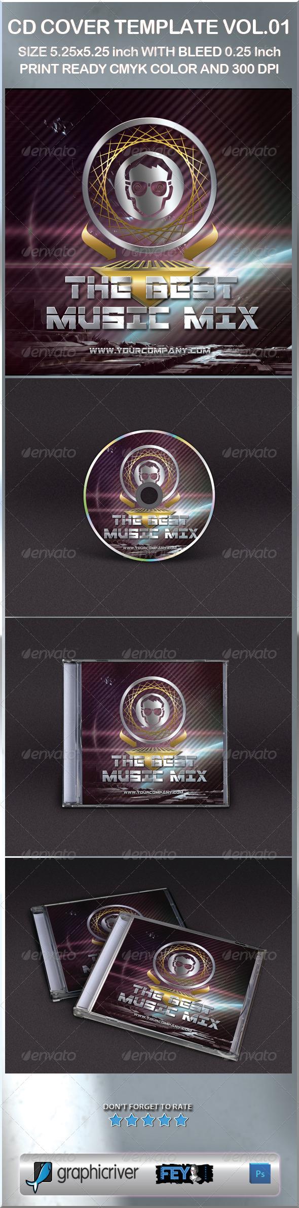 CD Cover Template Vol.01 - CD & DVD Artwork Print Templates