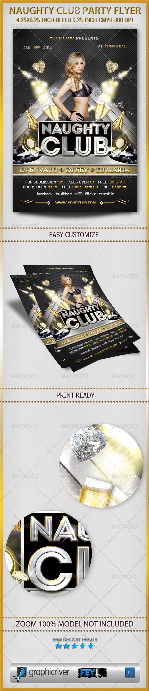 Naughty Club Party Flyer - Clubs & Parties Events