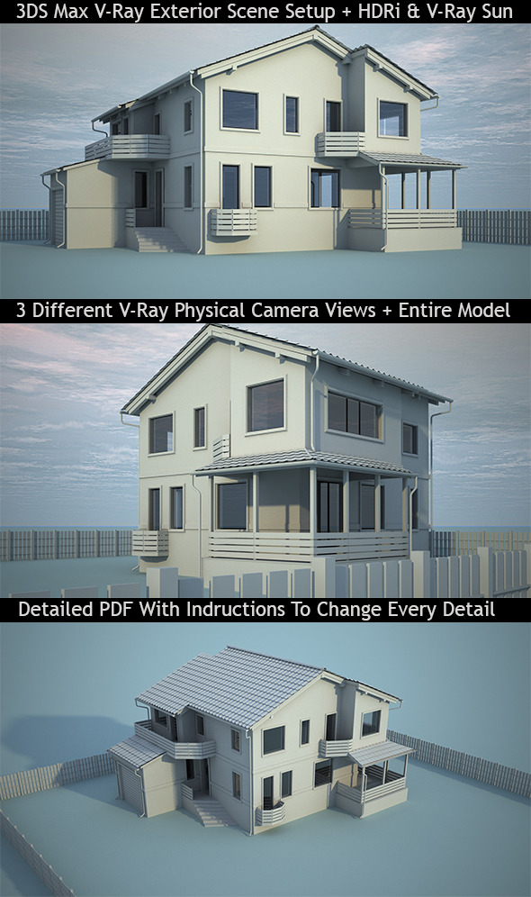 3DS Max V-Ray Realistic Exterior Scene Setup - 3DOcean Item for Sale