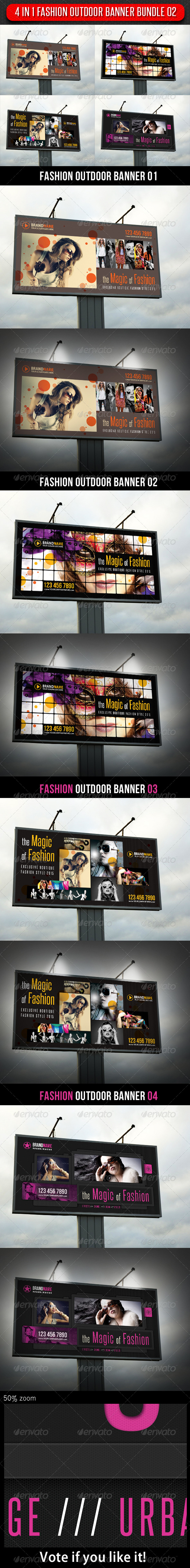 4 in 1 Fashion Outdoor Banner Bundle 02 - Signage Print Templates