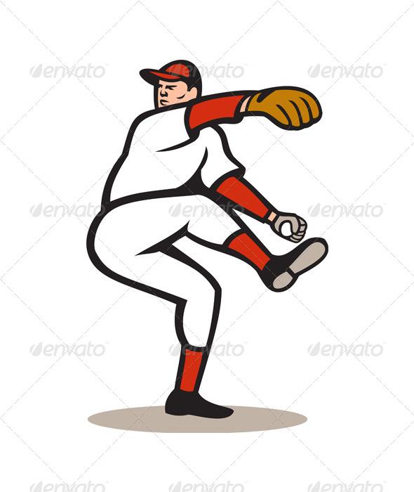 American Baseball Pitcher Throwing Ball Cartoon - Sports/Activity Conceptual