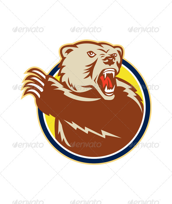 Grizzly Bear Swiping Paw Retro - Animals Characters