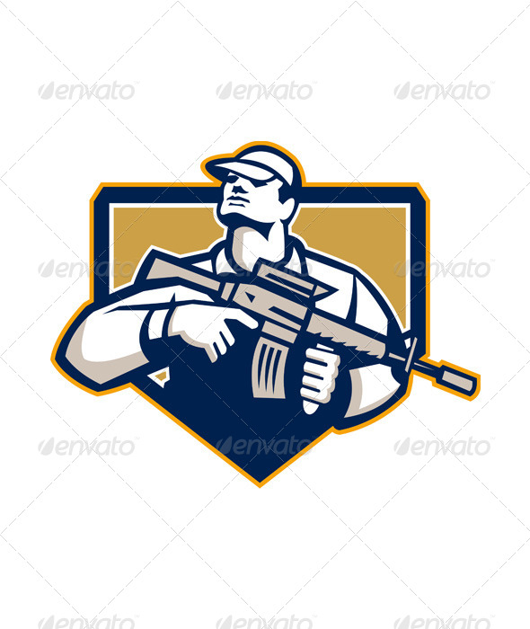 Soldier Military Serviceman Assault Rifle Retro - People Characters