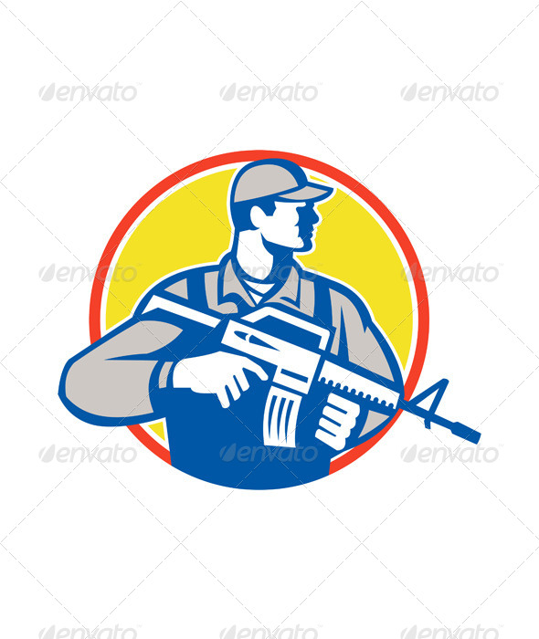 Soldier Military Serviceman Assault Rifle Side Retro - People Characters