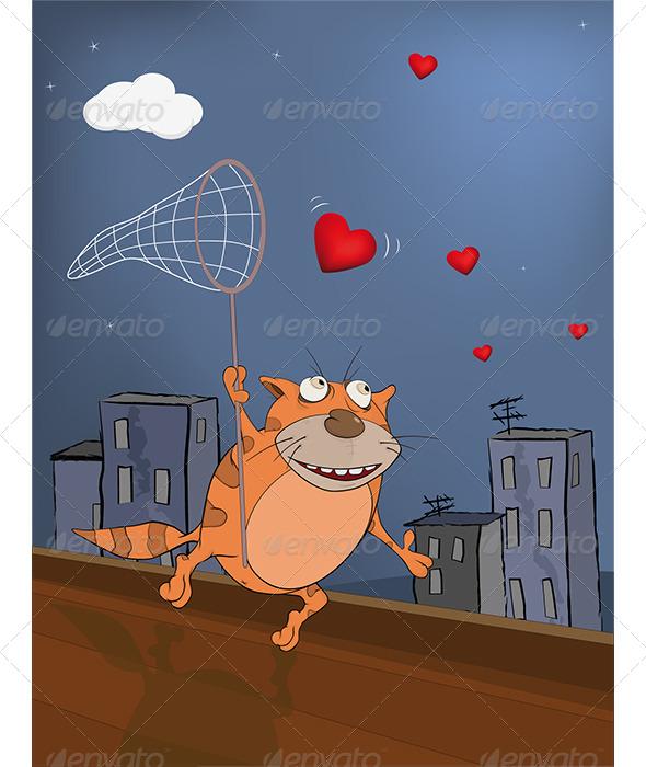Cat and Hearts Cartoon  - Valentines Seasons/Holidays