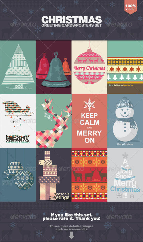 Christmas Greeting Cards and Posters Set