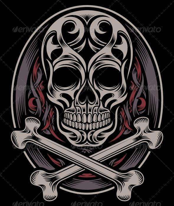 Skull and Crossbones - Tattoos Vectors