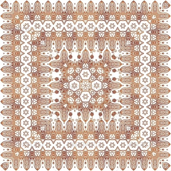 Vintage Beige Lacy Ornate Shawl Vector Pattern - Patterns Decorative