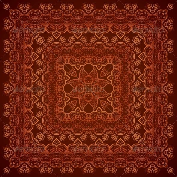 Vintage Brown Lacy Ornate Shawl Pattern - Patterns Decorative