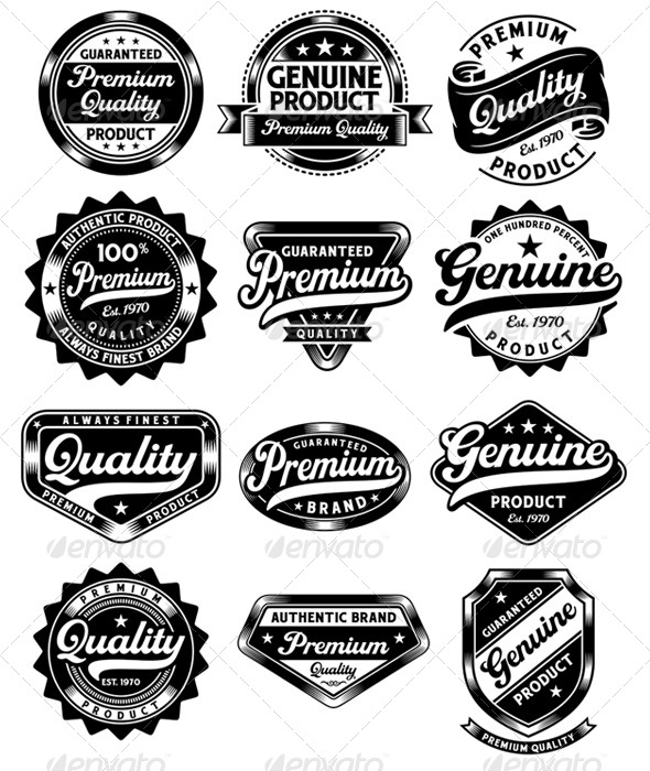 Set of Premium Quality and Genuine Vintage Labels - Commercial / Shopping Conceptual