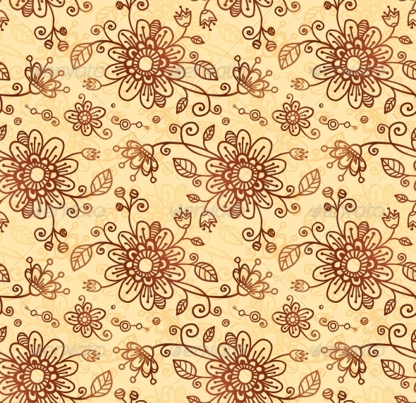 Ornate Vector Doodle Flowers Seamless Pattern - Flowers & Plants Nature