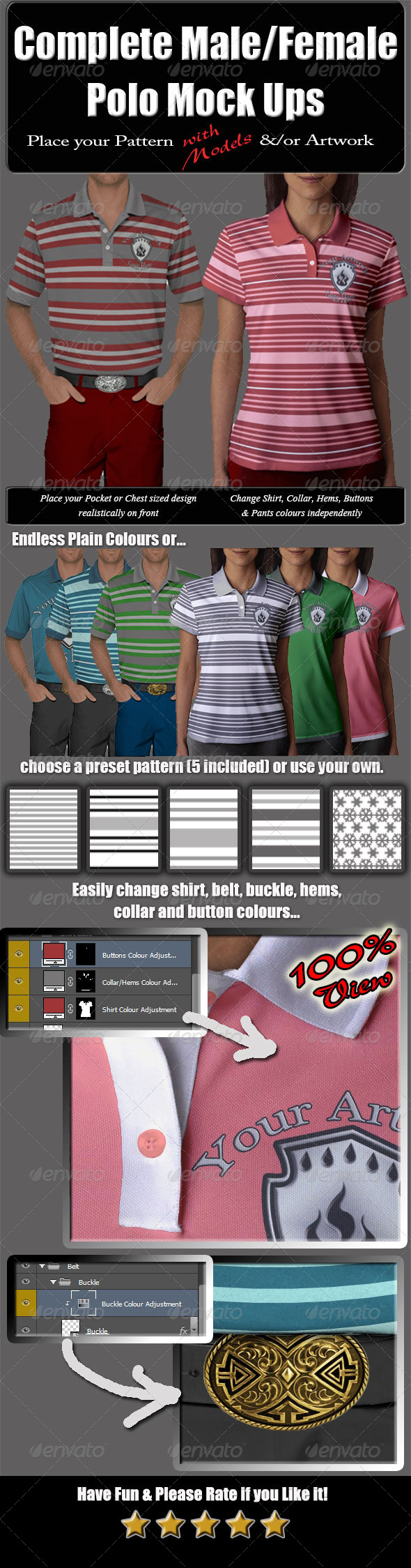Complete Male & Female Polo with Model Mock-Up - T-shirts Apparel