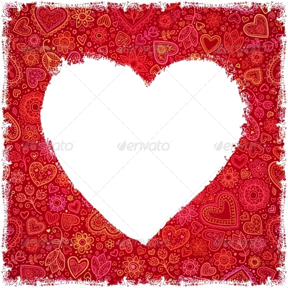 White Painted Heart on Red Ornate Background - Valentines Seasons/Holidays