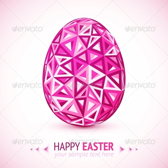 Abstract Geometry Triangles Pink Easter Egg - Miscellaneous Seasons/Holidays