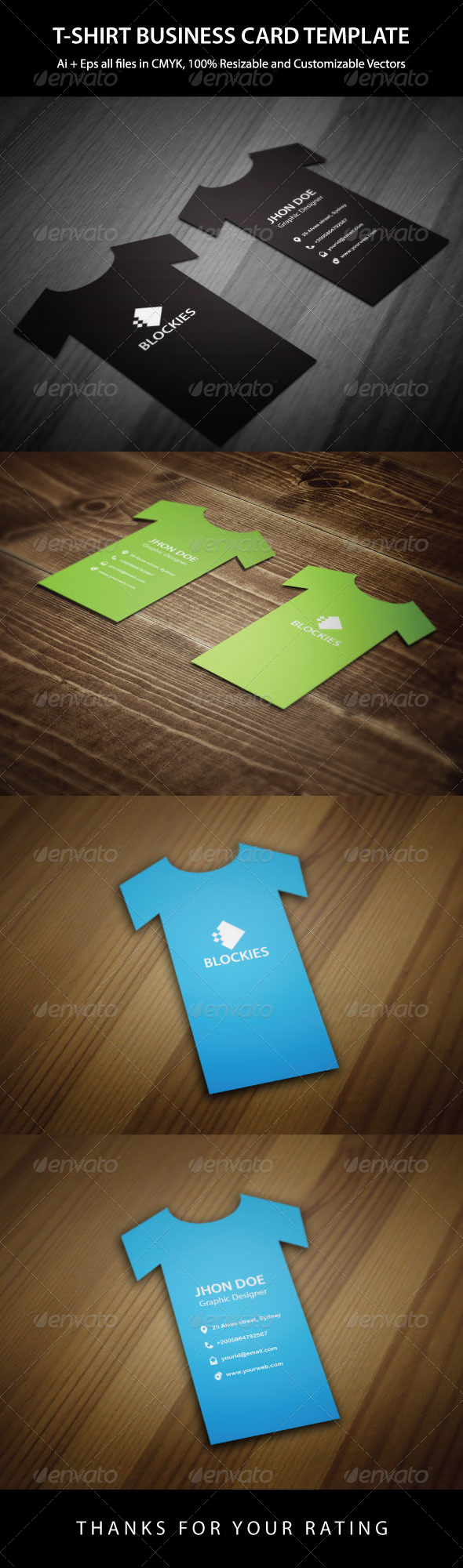 T-Shirt Business Card Template - Real Objects Business Cards