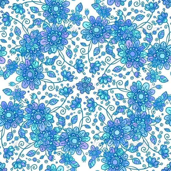 Blue Line Drawn Flowers Seamless Pattern - Flowers & Plants Nature