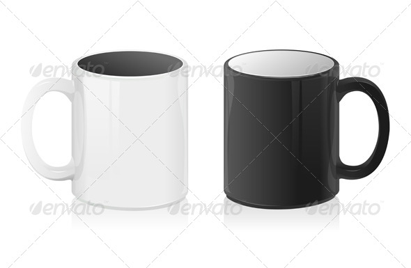 Vector Black and White Mug Cup - Food Objects