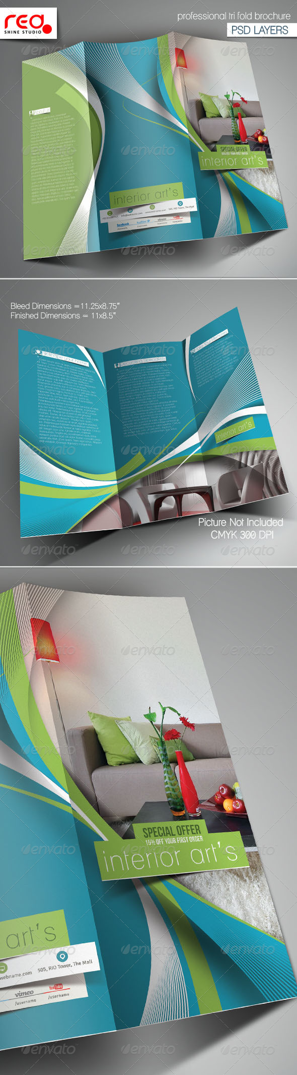 Architecture & Interior Designer Trifold Brochure - Corporate Brochures