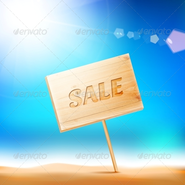 Wooden Board with Sale Text. - Retail Commercial / Shopping