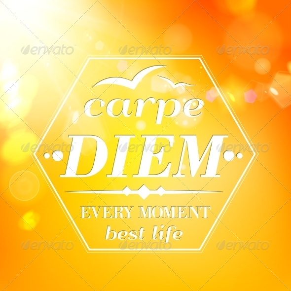 Carpe Diem - Summer Orange Typography - Borders Decorative