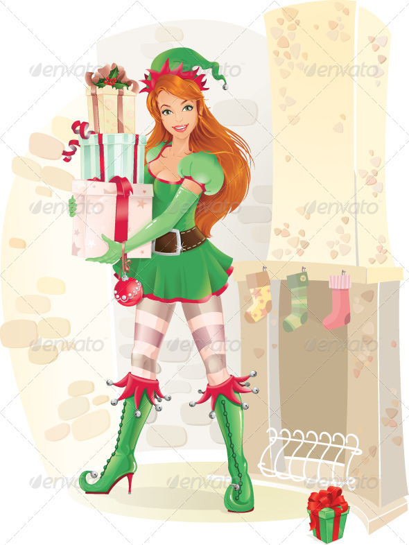 Elf with Christmas Presents. - People Characters