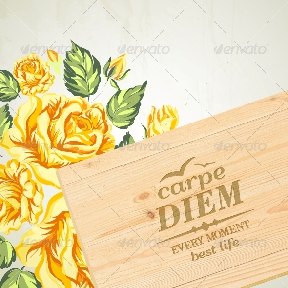 Stylish Wooden Plaque with the Text Carpe Diem. - Valentines Seasons/Holidays